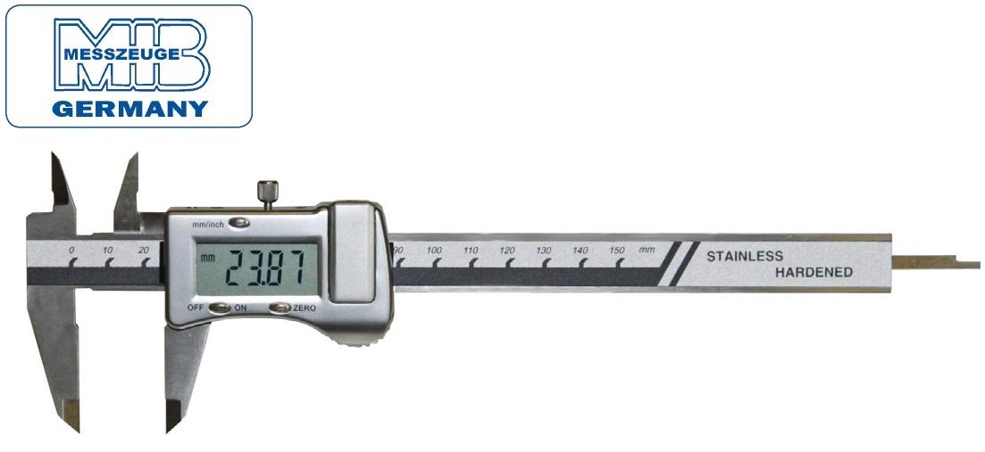 Elektroninis slankmatis su metaliniu korpusu, 150mm, DIN862, Skalė 0,01mm, lūpos - 40mm, MIB