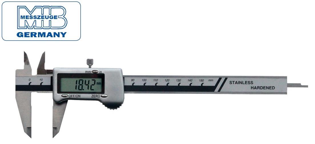 Elektroninis slankmatis su metaliniu korpusu, 3V baterija, 150mm, DIN862, Skalė 0,01mm, lūpos - 40mm, MIB