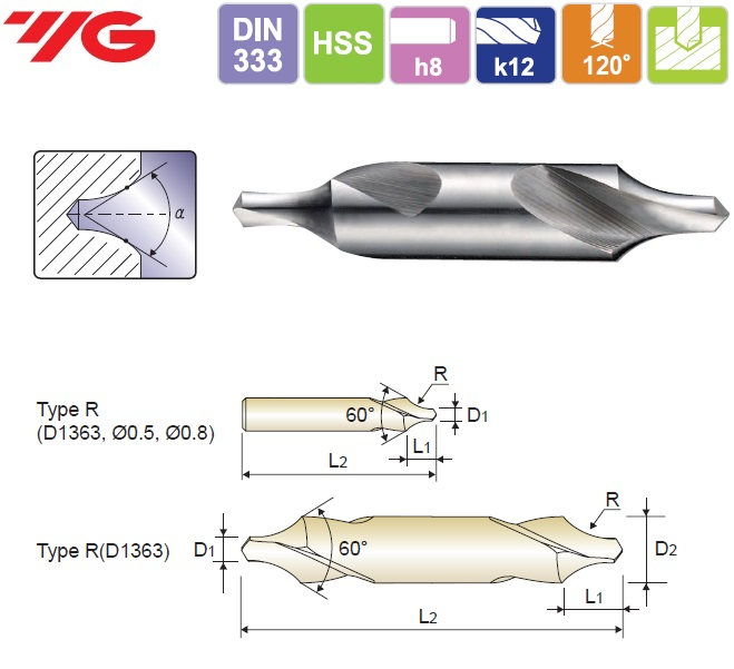1.6X4X4X35.5mm, HSS(M2) CENTER DRILL FORM R, YG, D1363016