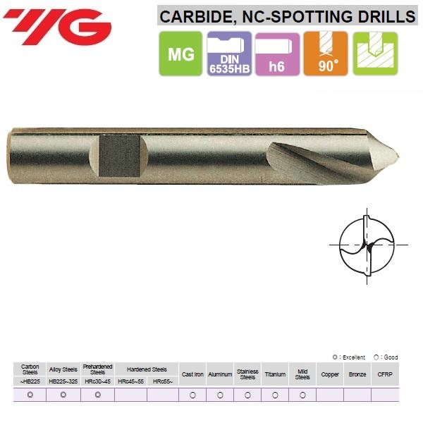 10 x 24 x 10 x 70mm, Centravimo grąžtas NC- 90°, Kietmetalinis, D5306100