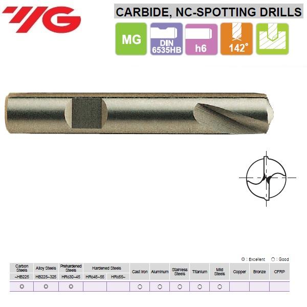 12 x 12 x 24 x 70mm, Centravimo grąžtas NC- 142°, Kietmetalinis, D5320120