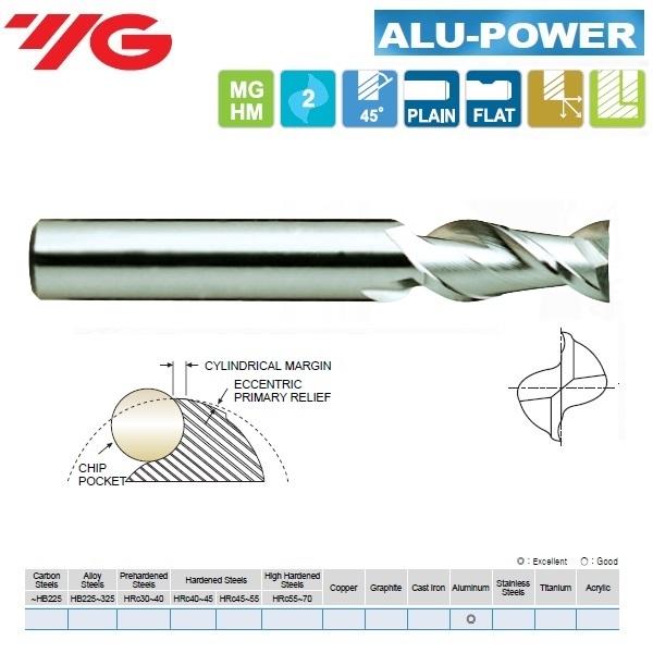 Kietmetalinė freza, ilga, Aliuminiui, ALU-POWER, 2pl., 45 laipsnių vija, greitam švariam darbui, E5522