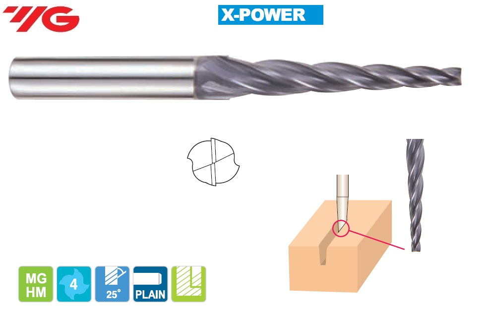 1 (2°)  x 4 x 12 x 45mm, Z - 4, Kietmetalio freza X-POWER, YG, EM889965