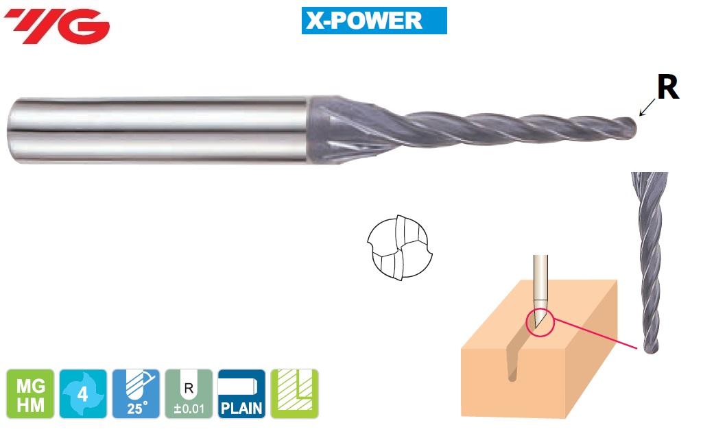 1 (R0.5)  x 4 x 12 ( (1°30')  x )  x 45mm, Z - 4, Kietmetalio freza X-POWER, YG, EM890919