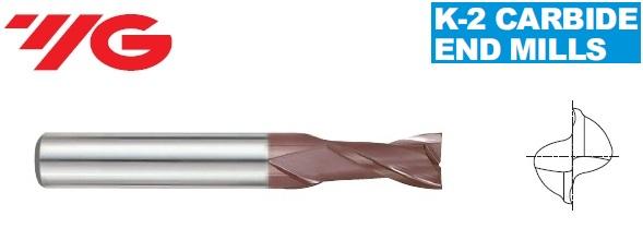 Frezos kietmetalinės plienui su TiAlN danga, trumps, 2 - plunksnų, Diametras nuo 1 iki 20mm, YG, Serija G9A68