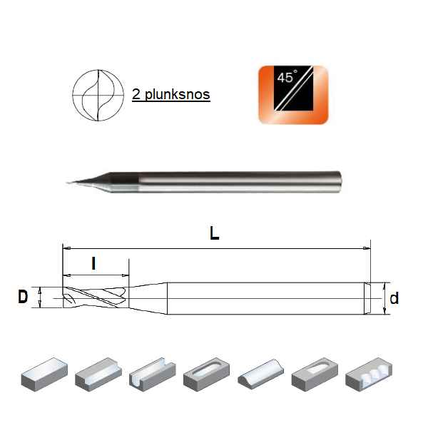 D0,3x0,6x4x50, Z-2, HN55, Kietmetalio mikrofreza aliuminiui ir plastikui, poliruota, HN55MSA2003