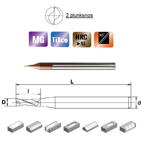 D0,6x1,2x4x50, Z-2, HN55, Kietmetalio mikrofreza su  TiXco danga, HN55MSS2006