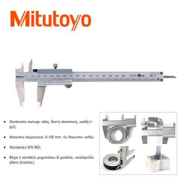 Slankmatis 150 mm. (0,05mm), DIN862, Mitutoyo