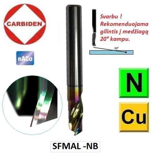 Kietmetalinės frezos aliuminiui, vienos plunksnos poliruotas drožlės išmetimo vieta, skirta aliuminio frezavimui, CARBIDEN