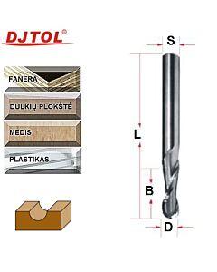R4 x 8mm x B-25 x S-8 x L-60, Z-2, DJTOL, Kietmetalio radiusinė freza medienos frezavimui.