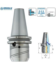 SK40, 20mm, Hidraulinis laikiklis DIN 69871 AD/B SK40 20-64,5