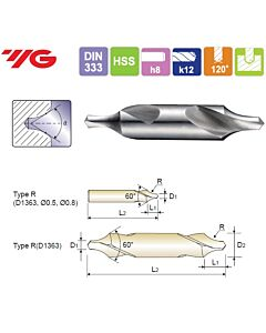 6.3X16X20X71mm, Centruotė, HSS, Forma R,, YG, D1363063