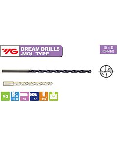 8 x 8 x 105 x 145 mm, Grąžtas kietmetalinis su vidiniu aušinimu, Extra Ilgas Dx10, YG, DHM10080