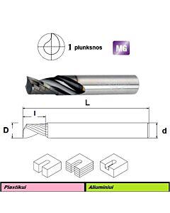 Poliruota kietmetalio freza su DLC danga, Skirta aliuminio ir plastiko frezavimui DLC1F