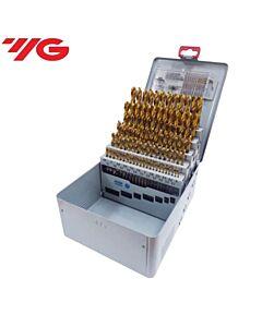 Grąžtų rinkinys HSS-E su TiN danga, 1,00 - 10,00mm kas 0,1mm, Viso - 91vnt., GOLD-P, YG