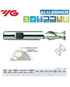 6 x 6 x 13 x 57mm, Kietmetalinė freza, ilga, Aliuminiui, ALU-POWER, 2pl., 45 laipsnių vija, greitam švariam darbui, WELDON laikiklis, E5521060