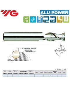 3 x 6 x 8 x 57mm, Kietmetalinė freza, ilga, Aliuminiui, ALU-POWER, 2pl., 45 laipsnių vija, greitam švariam darbui, E5522030