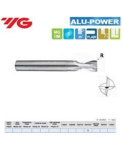 3(0,20) x 3 x 4(8) x 40mm, Kietmetalinė freza su kampiniu radiusu, Aliuminio ir Plastmasės frezavimui ALU-POWER, 2pl., 25 laipsnių vija., E5930030