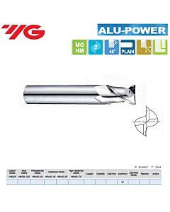 6 x 6 x 10 x 54mm, Kietmetalinė freza, trumpa Aliuminiui, ALU-POWER, 2pl., 45 laipsnių vija., E5E48060