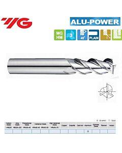 3 x 6 x 12 x 57mm, Kietmetalinė freza, ilga Aliuminiui, ALU-POWER, 3pl., 45 laipsnių vija, švariam darbui, E5E49030
