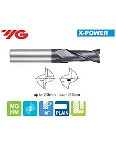 2 x 4 x 6 x 40mm, Z - 2, Kietmetalio freza X-POWER, YG, EM810020