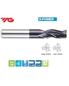3 x 3 x 10 x 38mm, Z - 3, Kietmetalio freza X-POWER, YG, EM895030