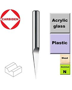 60 laipsnių, Graveris kietmetalinis poliruotas, D-0,2mm, d-4mm, L-45, CARBIDEN