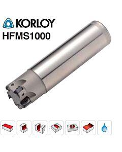 20mm, Z4, HFMS1020HR-4S20, Freza su keičiamomis plokštelėmis, greitos pastūmos iki 1mm per plokštelę. KORLOY