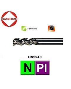 4mm x 4 x 12 x 50, Z3, Kietmetalio freza, poliruota, aliuminiui ir plastikui, HN55A3040