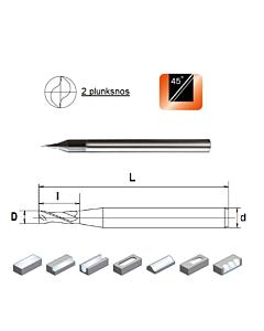 D0,8x1,6x4x50, Z-2, HN55, Kietmetalio mikrofreza aliuminiui ir plastikui, poliruota, HN55MSA2008