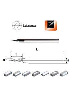 D0,5x1x4x50, Z-2, HN55, Kietmetalio mikrofreza aliuminiui ir plastikui, poliruota, HN55MSA2005