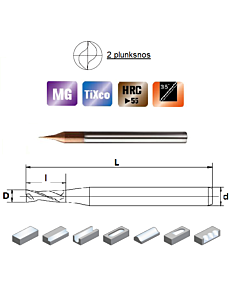 D0,3x0,6x4x50, Z-2, HN55, Kietmetalio mikrofreza su  TiXco danga, HN55MSS2003