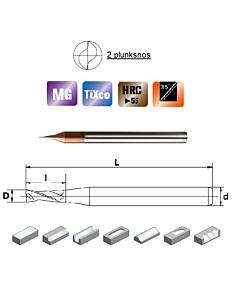 D0,5x1,0x4x50, Z-2, HN55, Kietmetalio mikrofreza su  TiXco danga, HN55MSS2005