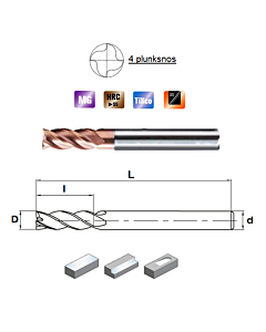 D2mm x5x4x50, Z-4, HN55, Kietmetalio freza, plienui, nerūdijančiam plienui ir ketui su TiXco danga, HN55S4020