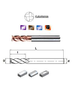 D4mm x10x4x50, Z-4, HN55, Kietmetalio freza, plienui, nerūdijančiam plienui ir ketui su TiXco danga, HN55S4040