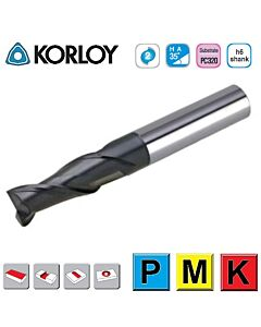2mm x 6 x 3c x 50 ,Z2, H-35, Kietmetalio freza su AlTiN danga, I-Plius, plienui frezuoti, KORLOY, IPFE2020-050-S3