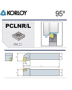 Tekinimo laikiklis, PCLNR1616-H09N, KORLOY
