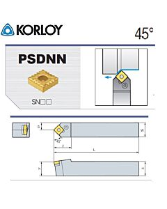 Tekinimo laikiklis, PSDNN4040-S25-6, KORLOY