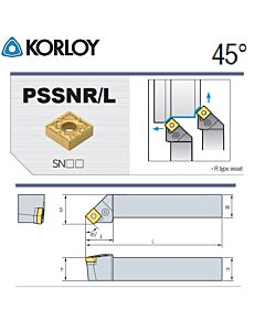 Tekinimo laikiklis, PSSNR1616-H09, KORLOY