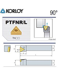 Tekinimo laikiklis, PTFNL2525-M16, KORLOY