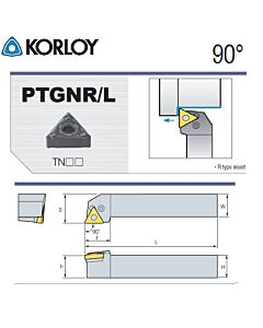 Tekinimo laikiklis, PTGNR1212-F11, KORLOY