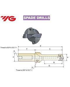 9.5 ~ 11.0mm, Grąžtas, su keičiama plokštele, WELDON laikiklis, YG, W - 16mm, KSA095110090
