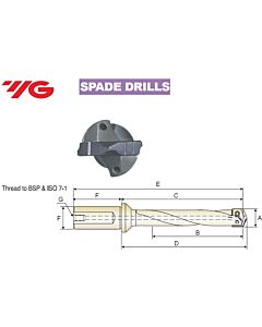 11.5 ~ 12.5mm, Grąžtas, su keičiama plokštele, WELDON laikiklis, YG, W - 20mm, KSE115125182