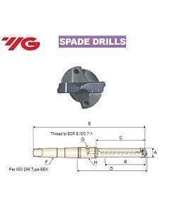 22.0 ~ 24.0mm, Grąžtas, su keičiama plokštele, MK laikiklis, YG, MT#3, KTA220240232