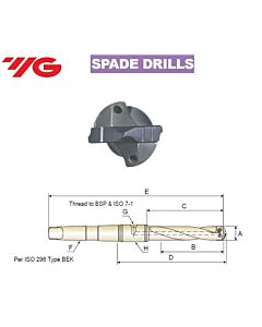 18.0 ~ 24.0mm, Grąžtas, su keičiama plokštele, MK laikiklis, YG, MT#3, KTC180240334