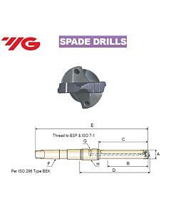 36.0 ~ 47.0mm, Grąžtas, su keičiama plokštele, MK laikiklis, YG, MT#4, KTE360470547