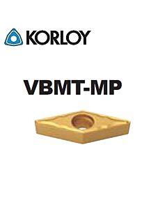 VBMT160404-MP NC3225, KORLOY, Tekinimo plokštelė kietmetalinė su CVD danga, plienui, atspari smūgiams