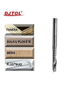3,175mm x 3,175  x 12 x 40, Z-1, Kietmetalio freza skirta plastmasės, medienos ir faneros frezavimui, DJTOL