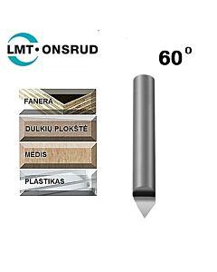 Graveris kietmetalinis 60 laipsnių D-1,016mm; d-6,35mm; L-50,8mm; Onsrud