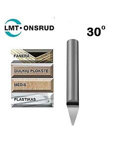 Graveris kietmetalinis 30 laipsnių D-2,286mm; d-6,35mm; L-50,8mm; Onsrud